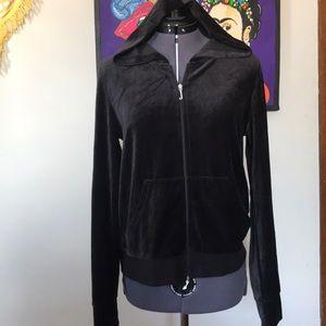 Classic Juicy Couture Black Velour Jacket Sz L